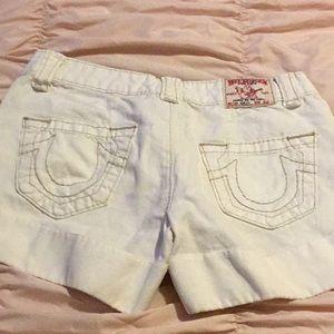True religion white denim shorts size 26